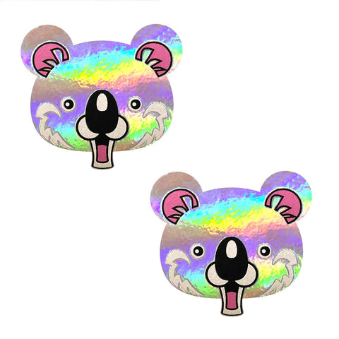 Krazi Koala Grey Super Holographic Nipztix Pasties, Animal Face Nipple Pasties - NevaNude
