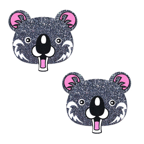 Cool Koala Grey Glitter Nipztix Pasties, Animal Face Nipple Pasties - NevaNude