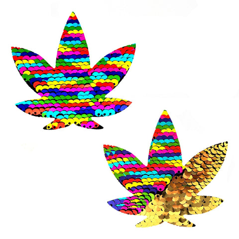 Funfetti Multicolor Sequins to Gold Dope AF Weed Leaf Pasties, Weed Leaf Pasties - NevaNude