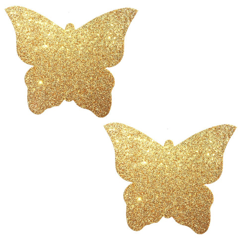 Gold Fairy Dust Glitter Butterfly Pasties, Butterfly Pasties - NevaNude
