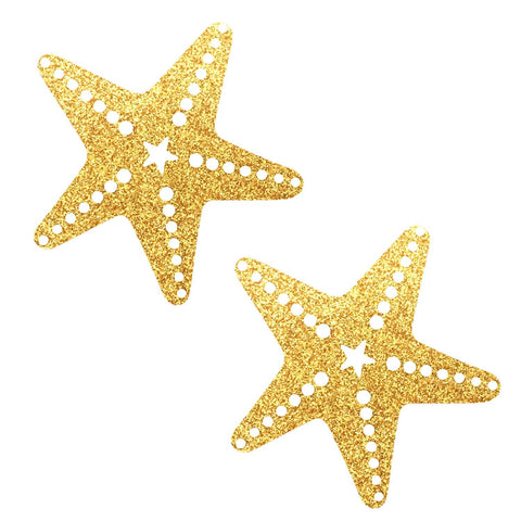 Gold Fairy Dust Glitter Sexy Starfish Pasties, Starfish - NevaNude
