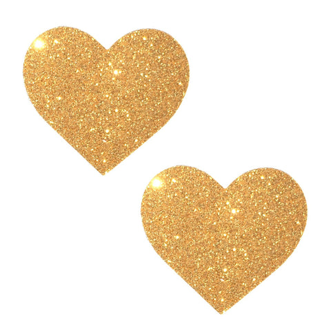 Gold Fairy Dust Glitter I Heart U Pasties, Heart Nipple Pasties - NevaNude