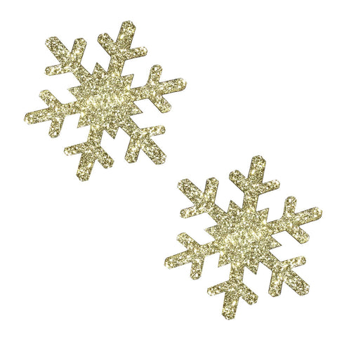 Gold Fairy Dust Glitter Snowflake Pasties, Christmas Nipple Pasties - NevaNude