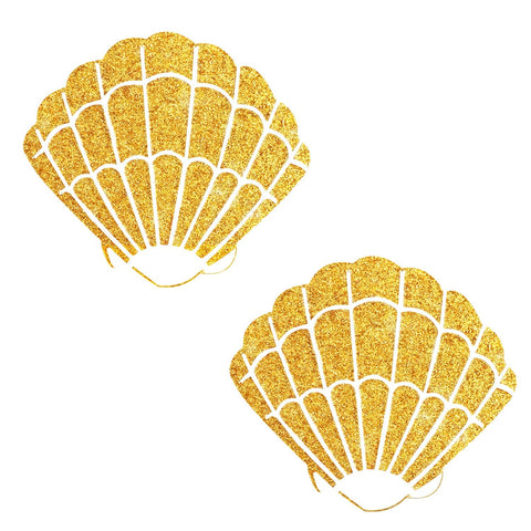 Gold Fairy Dust Glitter Mermaid Shell Pasties, Shell Pasties - NevaNude