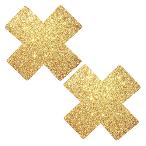 Gold Fairy Dust Glitter X Factor Pasties, X Nipple Pasties - NevaNude