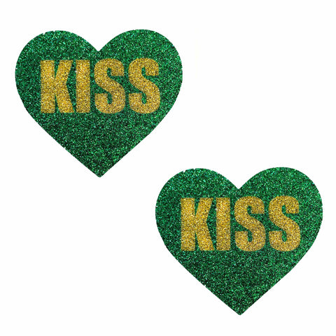 Kiss Me I'M Irish Green Gold Glitter I Heart U Pasties