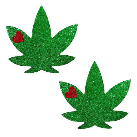 Glorious Green Dope AF Weed Leaf Pasties, Weed Leaf Pasties - NevaNude