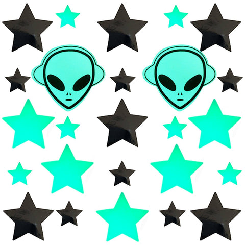 Glow In The Dark Alien Star Sticker Top
