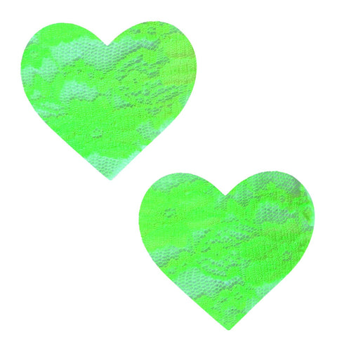 Neon Blacklight Green Sherbet Lace I Heart U Pasties