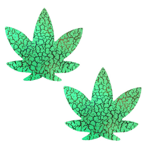 Glow Dark Synaptic Storm Holographic Dope AF Pasties, Weed Leaf Pasties - NevaNude