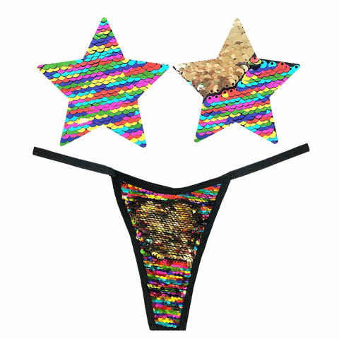Pride multicolor pasties and thong- Neva Nude