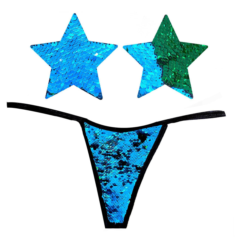 Go Seahawks Blue Green Slip Sequin Naughty Knix with Nipztix Pasties