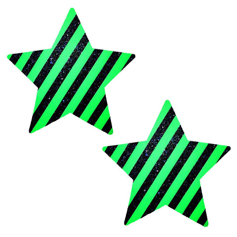 Green Stripe Glitter UV Seahawks Starry Nights Nipzitx Pasties, Sport Nipple Pasties - NevaNude