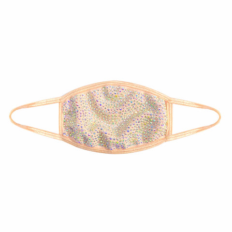 Poppin' Bottles Nude Crystal Face Mask With Adjustable Loops- Filter Pocket