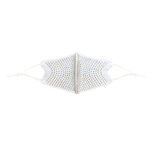 White Crystal Face Mask With Adjustable Loops