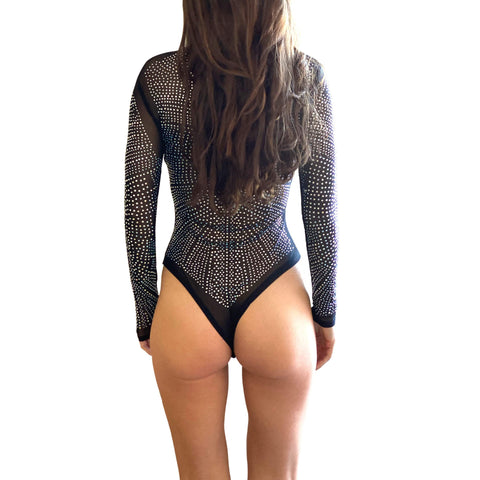 Toxic Sparkle Crystal Black BodySuit One Piece