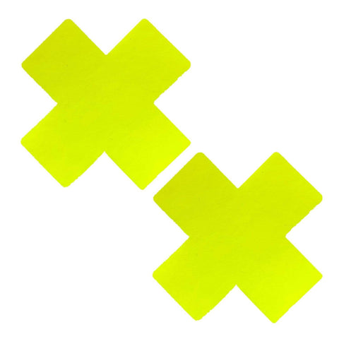 Lemon Fruitella Wet Vinyl Yellow X Factor Pasties, Vinyl Nipple Pasties - NevaNude
