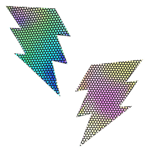 Liquid Party Holographic Storm Surge Bolt Pasties, Bolt Pasties - NevaNude