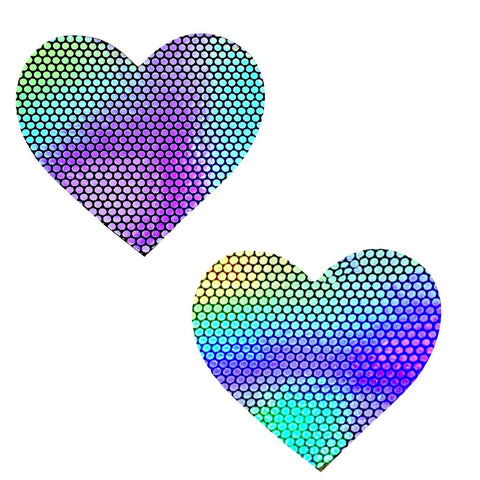 Holographic Heart Nipple Pasties, Neva Nude