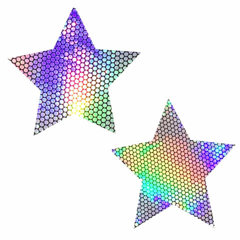 Liquid Party Holographic Starry Nights Pasties, Holographic Nipple Pasties - NevaNude