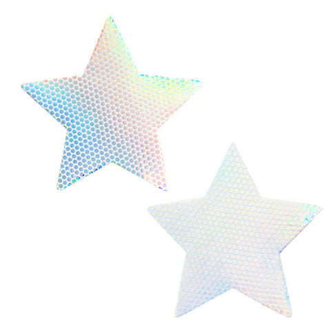 Holographic white star nipple cover, Neva Nude