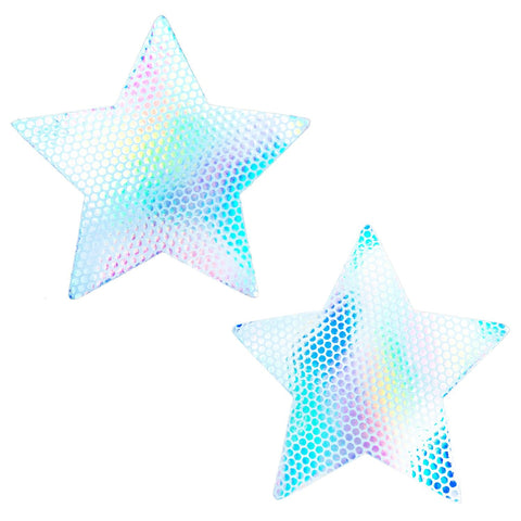 White holographic rave nipple pasties, Neva Nude