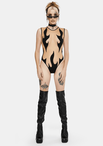 Inferni Black Flame Nude Mesh BodySuit