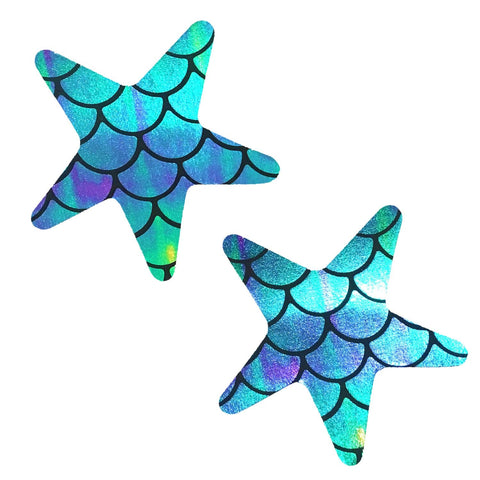 Mermaid holographic starfish rave pasties, Neva Nude