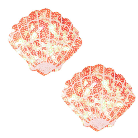 Orange mermaid UV Sequin shell nipple pasties, Neva Nude