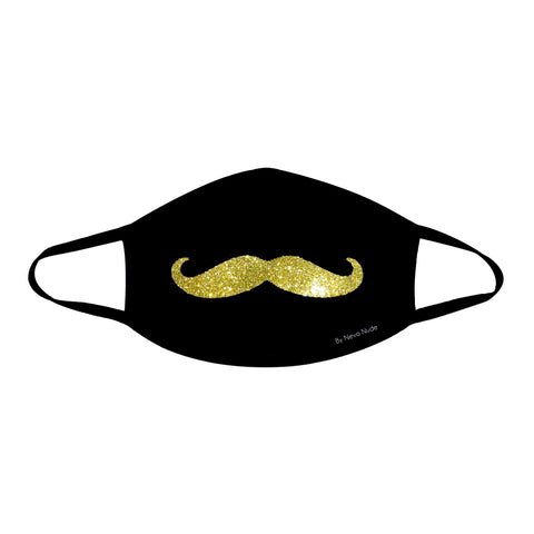 Mr. Mustachio Gold Glitter Face Mask
