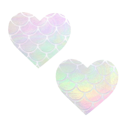 White scale holographic mermaid nipple pasties, Neva Nude