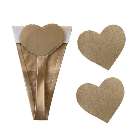 Nude invisible thong and nipple cover set, Neva Nude