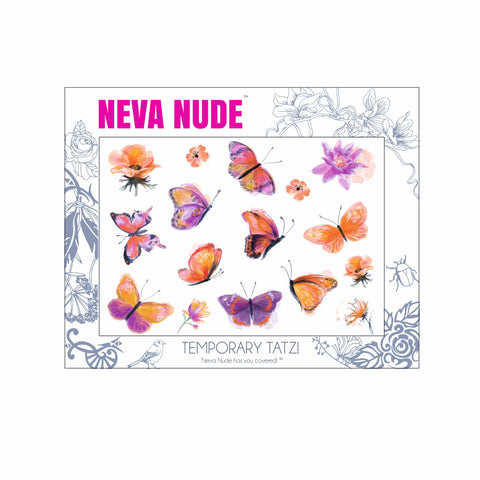 Orange Butterfly Kisses Large Temporary Tattoo Pack
