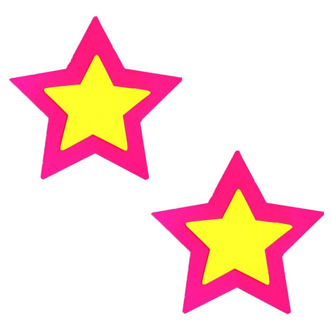 Double Starburst Neon Pink Power Blacklight Starry Nights Pasties, Blacklight Nipple Pasties - NevaNude