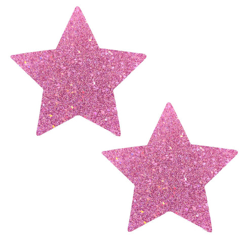 Pink Iridescent Star Nipple Pasties, Neva Nude