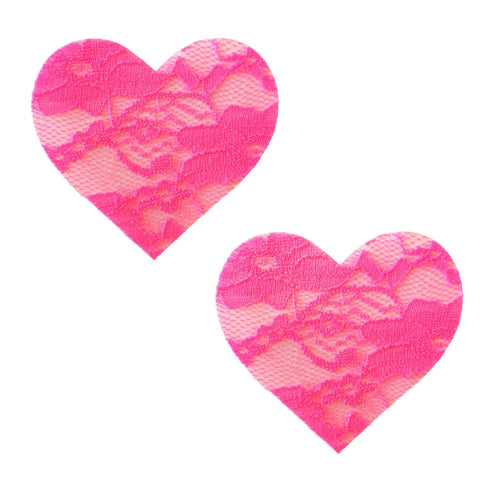 Neon lace heart Nipple Pasties, Neva Nude