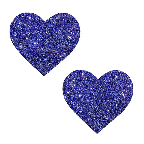 Purple glitter heart nipple pasties, Neva Nude