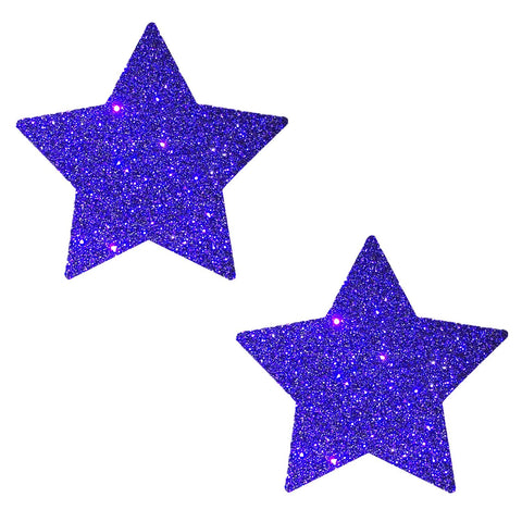 Purple glitter star nipple pasties, Neva Nude