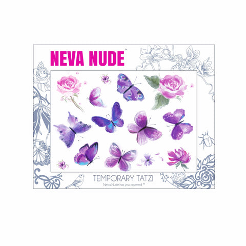 Purple Butterfly Kisses Large Temporary Tattoo Pack