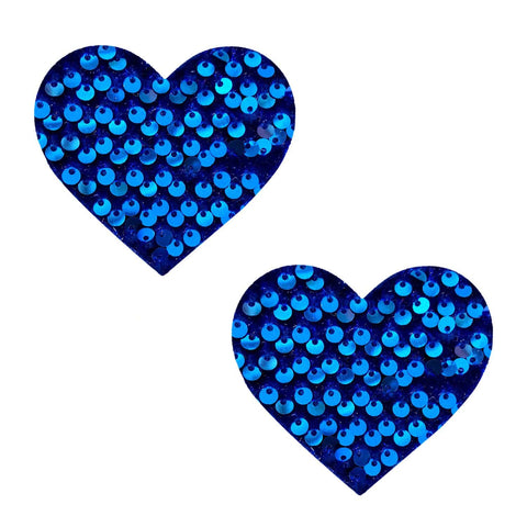 Blue Sequin Velvet Crush I Heart U Pasties, Heart Nipple Pasties - NevaNude