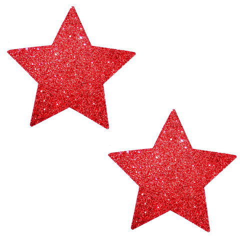 Red glitter star nipple pasties, Neva Nude