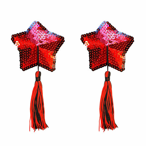 Star Spangled Red Sequin Tassel Star Reusable Silicone Nipztix