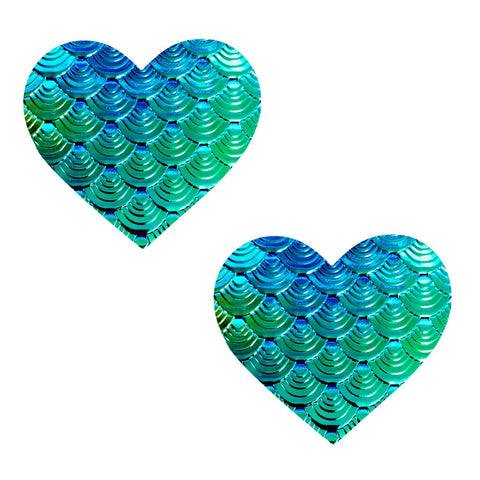 Mermaid green heart nipple pasties, Neva Nude