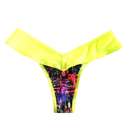 California Love Yellow Neon AF Naughty Knix Pasties & Panties Set, Thong - NevaNude