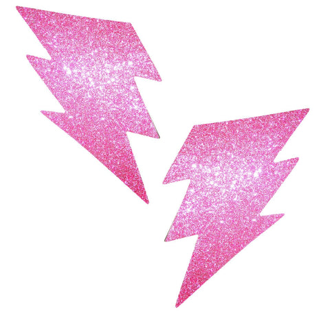 Pink glitter lightening pasties, Neva Nude
