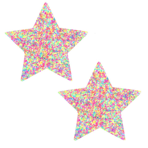 Glitter UV Star Nipple covers, Neva Nude