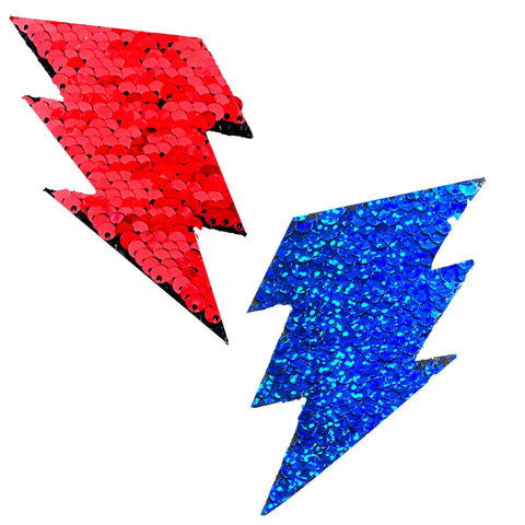 American Spirit Red Blue Flip Sequin Storm Surge Bolt Pasties, Bolt Pasties - NevaNude