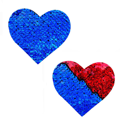 American Spirit Red & Blue Sequin I Heart U Pasties, Heart Nipple Pasties - NevaNude