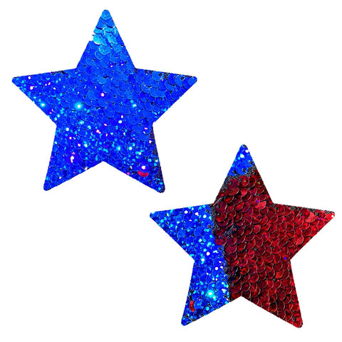 American Spirit Red Blue Flip Sequin Starry Nights Pasties, Star Pasties - NevaNude