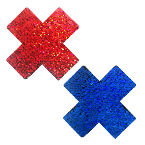 American Spirit Blue and Red Sequin X Factor Pasties, X Nipple Pasties - NevaNude